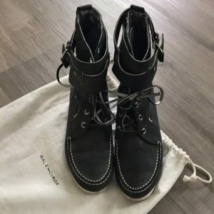 Balenciaga loafter lace up buckle boots